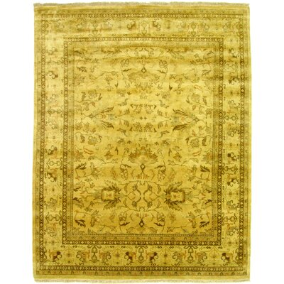 Ziegler Hand-Knotted Wool Yellow/Green Area Rug Rug Size: Rectangle 6 x 9