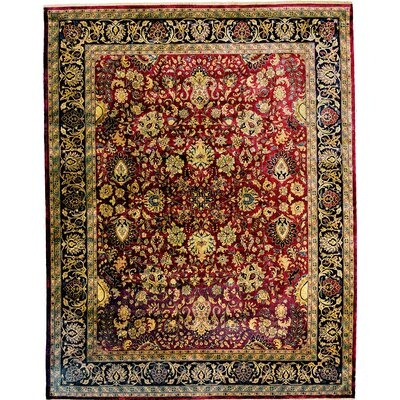 Mashad Hand-Knotted Wool Maroon/Black Area Rug Rug Size: Rectangle 9 x 10