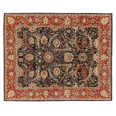 Serapi Hand-Knotted Wool Navy/Red Area Rug Rug Size: Rectangle 8 x 10