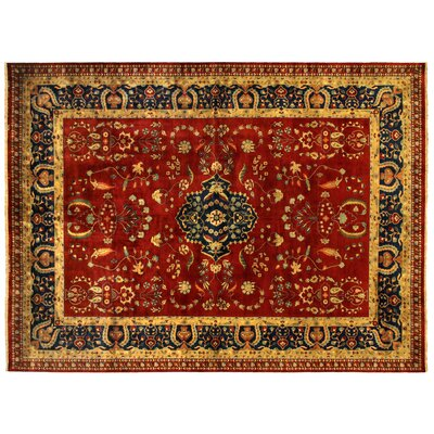 Mohajeran Sarouk Hand-Knotted Wool Red/Yellow Area Rug