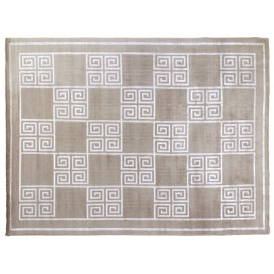 Super Tibetan Hand-Knotted Silver Area Rug Rug Size: Rectangle 10 x 14