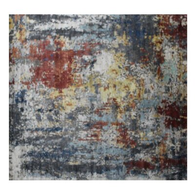 Aurora Hand-Knotted Red/Gray Area Rug Rug Size: Rectangle 8' x 10'