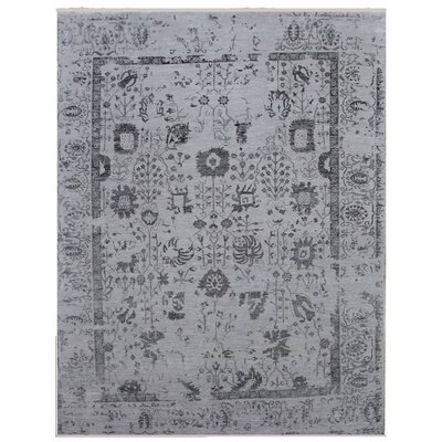 Lexington Hand-Knotted Gray/Black Area Rug Rug Size: Rectangle�14' x 18'