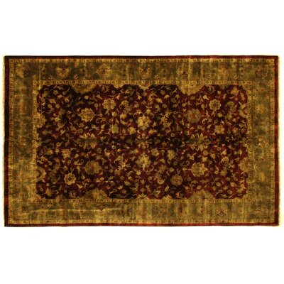 Super Kashan Hand-Knotted Wool Maroon/Green Area Rug Rug Size: Rectangle 9 x 10