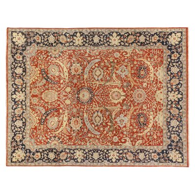 Serapi Hand-Knotted Wool Red/Navy Area Rug Rug Size: Rectangle�6 x 9