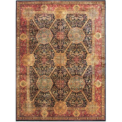 Lavar Hand-Knotted Wool Black/Beige Area Rug