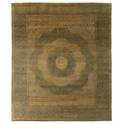 Mamluk Hand-Knotted Wool Gold/Gray Area Rug Rug Size: Rectangle 9 x 12