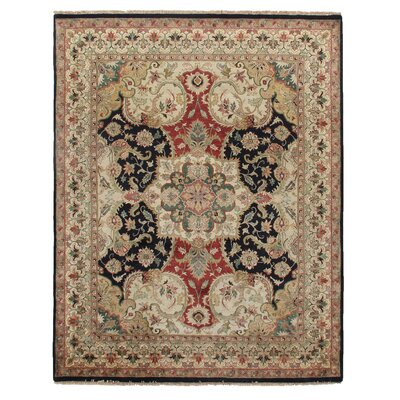 Polonaise Hand-Knotted Wool Black/Red Area Rug