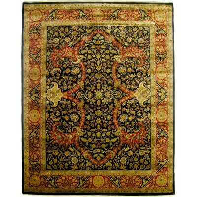 Kashan Hand-Knotted Wool Beige/Black Area Rug