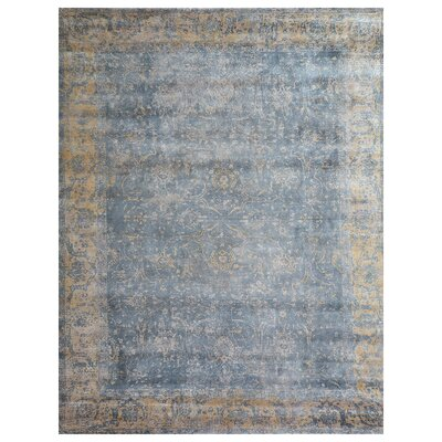 Cassina Hand-Woven Ivory/Blue Area Rug Rug Size: Rectangle 9 x 12