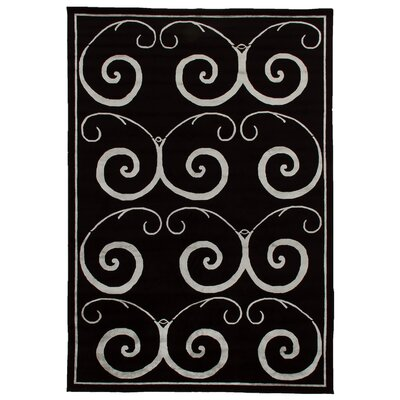 Super Tibetan Hand-Knotted Black/Silver Area Rug