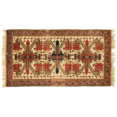 One-of-a-Kind Hand-Woven Wool Ivory/Red Area Rug