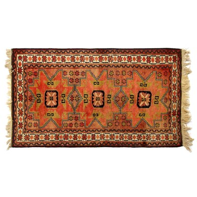 One-of-a-Kind Hand-Woven Wool Red/Ivory Area Rug