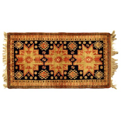 One-of-a-Kind Hand-Woven Wool Black/Beige Area Rug
