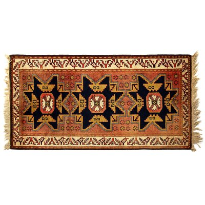 One-of-a-Kind Hand-Woven Wool Black/Ivory Area Rug