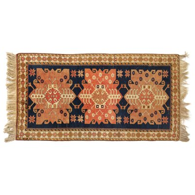 One-of-a-Kind Hand-Woven Wool Beige/Navy Area Rug