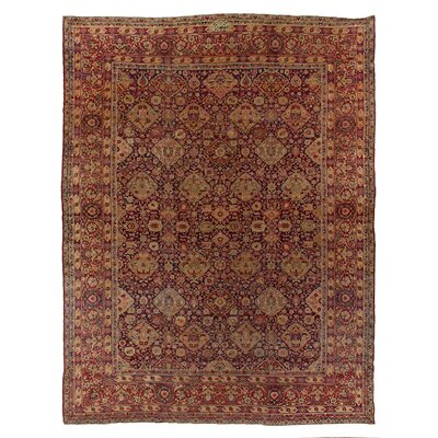 One-of-a-Kind Antique Persian Hand-Woven Wool Red/Ivory Area Rug