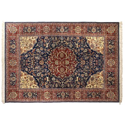 One-of-a-Kind Super Fine Hand-Woven Wool Navy Blue/Red Area Rug