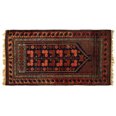 One-of-a-Kind Hand-Woven Wool Black/Red Area Rug