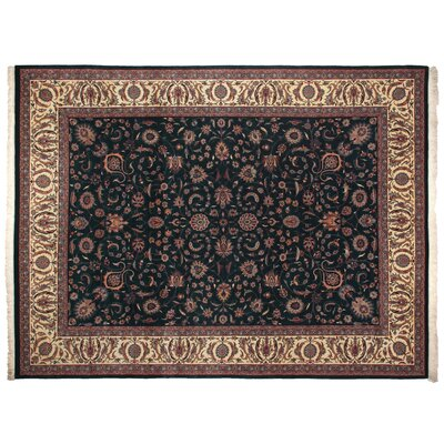 One-of-a-Kind Fine Kashan Hand-Woven Wool Navy/Ivory Area Rug
