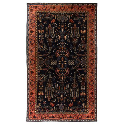 One-of-a-Kind Rare Sarouk Hand-Woven Wool Rust/Blue Area Rug