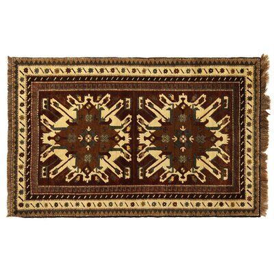 One-of-a-Kind Turkish Fine Kars Hand-Woven Wool Brown/Beige Area Rug