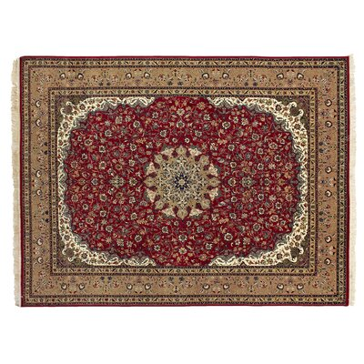 One-of-a-Kind Super Fine Hand-Woven Wool Red/Beige Area Rug