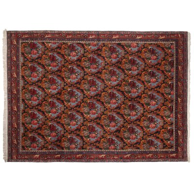 One-of-a-Kind Fine Persian Hand-Woven Wool Blue/Rust Area Rug