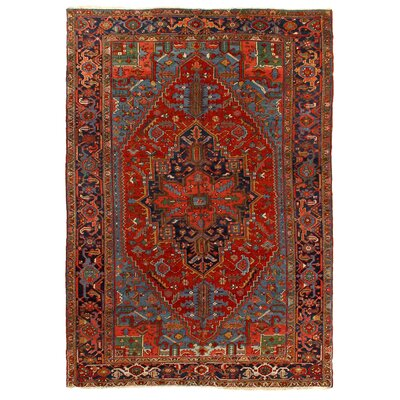One-of-a-Kind Antique Persian Hand-Woven Wool Red/Blue Area Rug