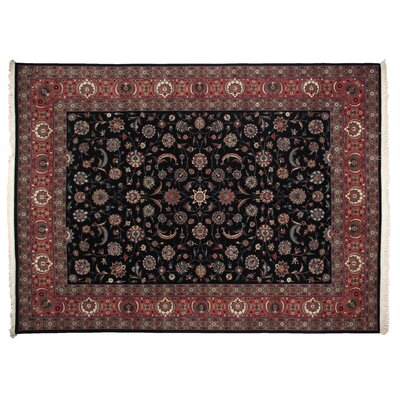 One-of-a-Kind Hand-Woven Wool Black/Rust Area Rug