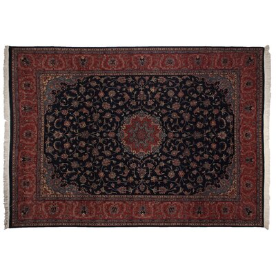 One-of-a-Kind Super Fine Hand-Woven Wool Navy/Red Area Rug