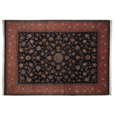 One-of-a-Kind Super Fine Hand-Woven Wool Navy/Rust Area Rug