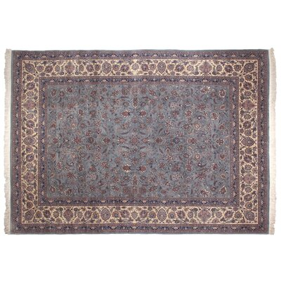 One-of-a-Kind Super Fine Hand-Woven Wool Blue/Ivory Area Rug Size: Rectangle 92 x 123