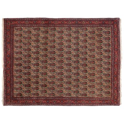 One-of-a-Kind Fine Persian Hand-Woven Wool Ivory/Red Area Rug
