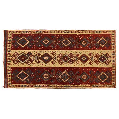One-of-a-Kind Antique Turkish Hand-Woven Wool Beige/Red Area Rug
