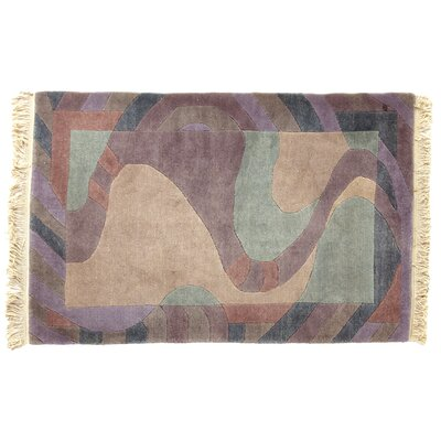One-of-a-Kind Hand-Woven Wool Beige/Purple Area Rug