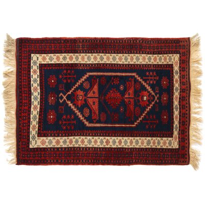 One-of-a-Kind Hand-Woven Wool Navy/Red Area Rug
