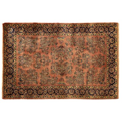 One-of-a-Kind Fine Indo Hand-Woven Wool Rust/Blue Area Rug