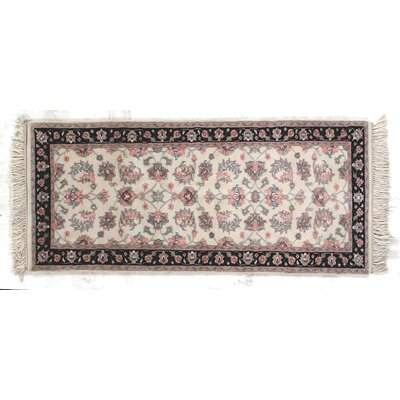 One-of-a-Kind Indo Kashan Hand-Woven Wool Ivory/Pink Area Rug