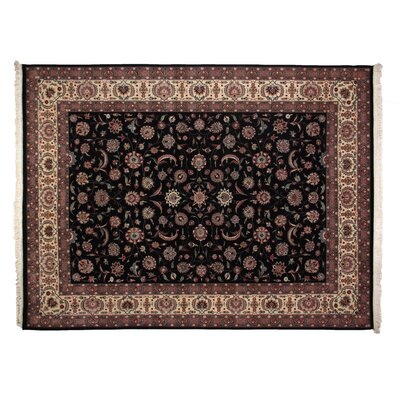 One-of-a-Kind Fine Kashan Hand-Woven Wool Black/Ivory Area Rug