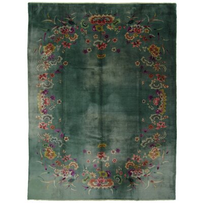 One-of-a-Kind Hand-Woven Wool Green/Pink Area Rug