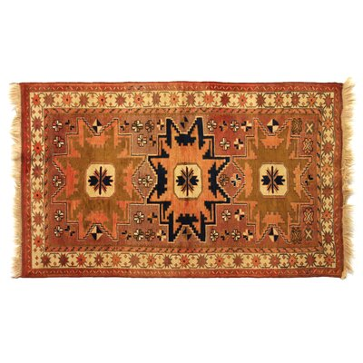 One-of-a-Kind Hand-Woven Wool Brown/Beige Area Rug