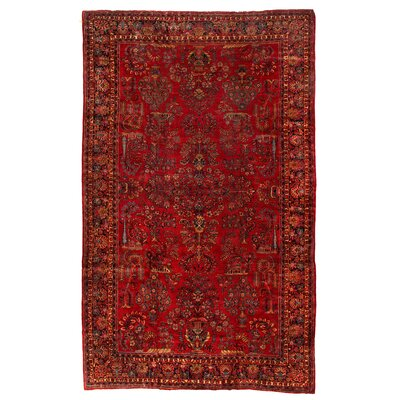 One-of-a-Kind Rare Antique Persian Sarouk Hand-Woven Wool Red/Blue Area Rug