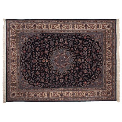One-of-a-Kind Super Fine Hand-Woven Wool Blue/Brown Area Rug