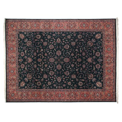 One-of-a-Kind Fine Kashan Hand-Woven Wool Black/Rust Area Rug