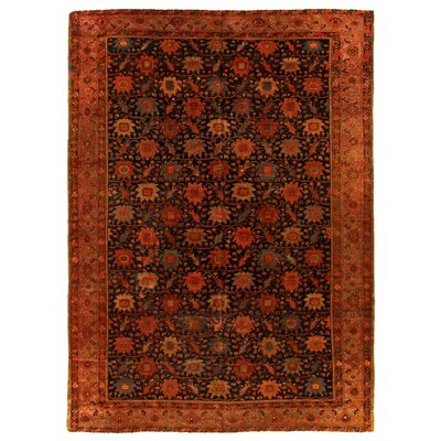 One-of-a-Kind Hand-Woven Wool Rust/Black Area Rug
