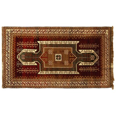 One-of-a-Kind Turkish Fine Kars Hand-Woven Wool Green/Rust Area Rug