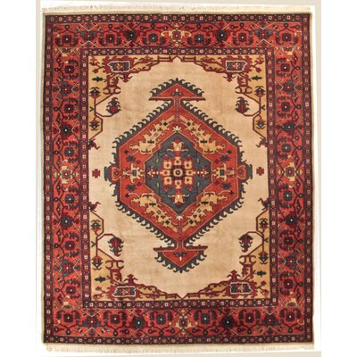 One-of-a-Kind Indo Serapi Hand-Woven Wool Rust/Ivory Area Rug