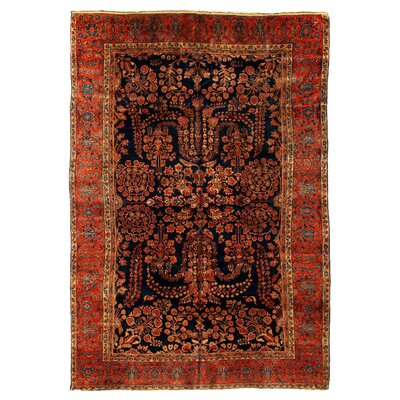 One-of-a-Kind Antique Persian Hand-Woven Wool Rust/Blue Area Rug