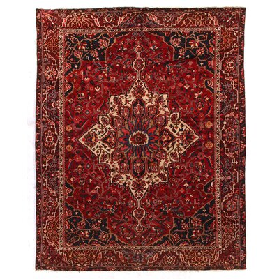 One-of-a-Kind Persian Mashad Hand-Woven Wool Red/Blue Area Rug